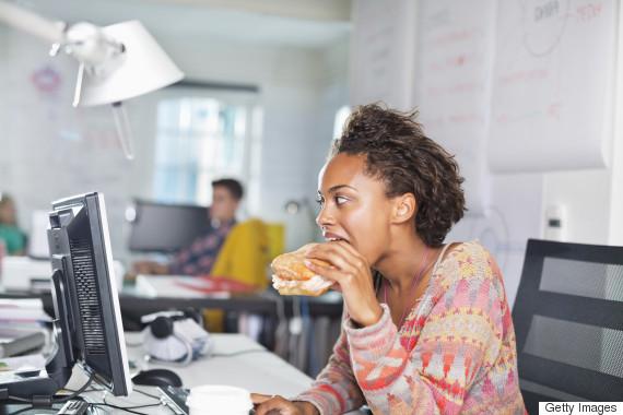 eat lunch at desk