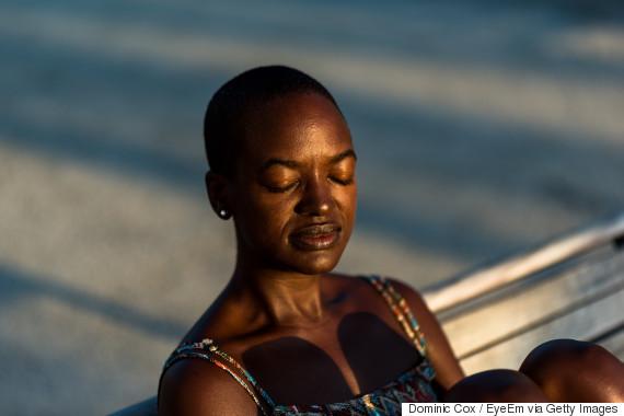 black person tanning