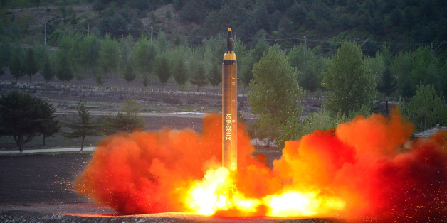 This picture taken on May 14, 2017 and released from North Korea's official Korean Central News Agency (KCNA) on May 15 shows a test launch of the ground-to-ground medium long-range strategic ballistic rocket Hwasong-12 at an undisclosed location. / AFP PHOTO / KCNA VIA KNS / STR / South Korea OUT / REPUBLIC OF KOREA OUT   ---EDITORS NOTE--- RESTRICTED TO EDITORIAL USE - MANDATORY CREDIT 'AFP PHOTO/KCNA VIA KNS' - NO MARKETING NO ADVERTISING CAMPAIGNS - DISTRIBUTED AS A SERVICE TO CLIENTSTHIS PI