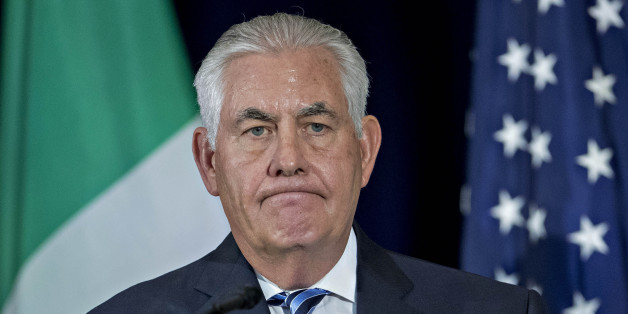 Rex Tillerson, U.S. Secretary of State, pauses while speaking during a news conference after a meeting on strategies to combat transnational criminal organizations at the State Department in Washington, D.C., U.S., on Thursday, May 18, 2017. The meeting is expected to identify new strategic approaches to disrupt the business model of the multi-billion dollar combat transnational criminal organizations that bring drugs into the United States. Photographer: Andrew Harrer/Bloomberg via Getty Images