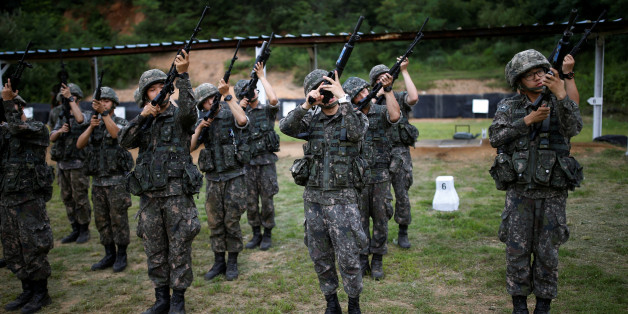 "South Korean soldiers take part in a firearms training at a military base near the demilitarized zone separating the two Koreas in Paju, South Korea, July 13, 2016.  REUTERS/Kim Hong-Ji SEARCH ""BALLET SOLDIERS"" FOR THIS STORY. SEARCH ""THE WIDER IMAGE"" FOR ALL STORIES. TPX IMAGES OF THE DAY"