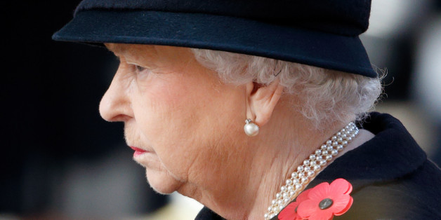 LONDON, UNITED KINGDOM - NOVEMBER 13: (EMBARGOED FOR PUBLICATION IN UK NEWSPAPERS UNTIL 48 HOURS AFTER CREATE DATE AND TIME) Queen Elizabeth II attends the annual Remembrance Sunday Service at the Cenotaph on Whitehall on November 13, 2016 in London, England. The Queen, senior politicians, including the British Prime Minister and representatives from the armed forces pay tribute to those who have suffered or died at war. (Photo by Max Mumby/Indigo/Getty Images)