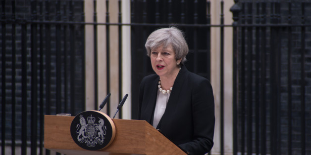The Prime Minister, Theresa May, is pictured while speaks to the media at Downing Street, following the Manchester terror attack, London on May 23, 2017. An explosion during a concert of Ariana Grande, at Manchester Arena killes 22 people and injured 59. Greater Manchester Police are treating the incident as a terror attack and say that the attacker died in the explosion.  (Photo by Alberto Pezzali/NurPhoto via Getty Images)