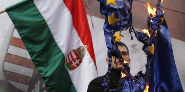 """Ein Mitglied der ungarischen """"Jobbik"""" verbrennt eine EU-Fahne."""