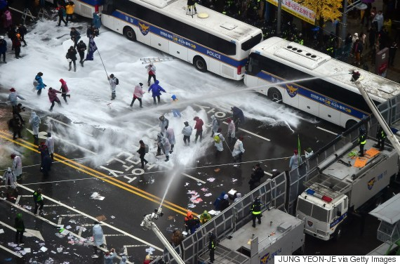 water cannons seoul