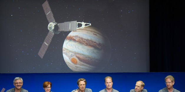 PASADENA, UNITED STATES - JULY 04: (From L to R) Goeff Yoder, Diane Brown, Juno Principal Investigator Scott Bolton, Juno Project Manager Rick Nybakken, Lockheed Martin director of space exploration Guy Beutelschies and Juno Project scientist Steve Levin hold a press briefing following the solar-powered Juno spacecraft entered orbit around Jupiter on Monday, July 4, 2016 at NASA's Jet Propulsion Laboratory  in Pasadena, CA, USA. NASAs Juno spacecraft is securely in orbit around Jupiter after spending almost five years traveling through space, the space agency announced late Monday. (Photo by Mintaha Neslihan Eroglu/Anadolu Agency/Getty Images)