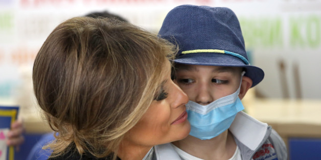 ROME, ITALY - MAY 24: US First Lady Melania Trump Visits the Paediatric Hospital Bambin Ges on May 24, 2017 Rome, Italy. (Photo by Vatican Pool - Corbis/Corbis via Getty Images)