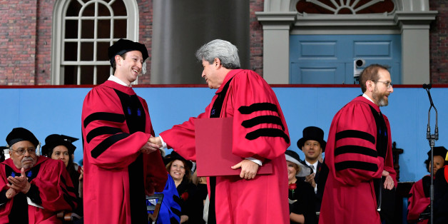 CAMBRIDGE, MA - MAY 25:  Facebook Founder and CEO Mark Zuckerberg received an Honorary Doctor of Laws Degree from Harvard University at its 2017 366th Commencement Exercises on May 25, 2017 in Cambridge, Massachusetts.  Zuckerberg studied computer science at Harvard before leaving to move Facebook to Paolo Alto, CA and returned to the campus this week to his former dorm room to livestream his visit.  (Photo by Paul Marotta/Getty Images)
