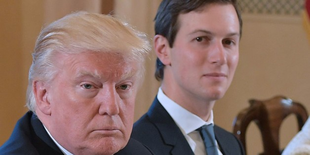 US President Donald Trump (L) and White House senior advisor Jared Kushner take part in a bilateral meeting with Italy's Prime Minister Paolo Gentiloni (not seen) in Villa Taverna, the US ambassador's residence, in Rome on May 24, 2017.After a private audience wit Pope Francis early in the morning Trump's family will fly to Brussels this afternoon for meetings with EU and NATO officials before returning to Italy for the G7 summit in Sicily on May 26-27. / AFP PHOTO / MANDEL NGAN        (Photo cr