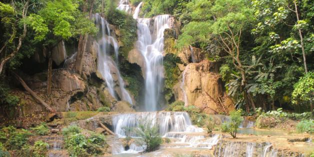 Tat Kuang Si Waterfalls is a three tier waterfall of Luang Prabang ,Laos