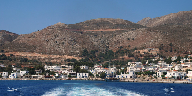 Looking towards Livadia harbour on the Greek island of Tilos.