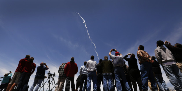 VANDENBERG AFB, CA - MAY 30: Spectators watch a ground-based interceptor rocket is launched on May 30, 2017 from Vandenberg Air Force Base, California. The rocket from Vandenberg successfully intercepted and destroyed a target missile in space - most likely above waters east of Hawaii that have been temporarily closed to all shipping. (Photo by Al Seib/Los Angeles Times via Getty Images)