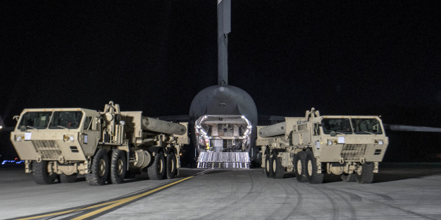 Photo provided by U.S. Forces Korea, a truck carrying parts of U.S. missile launchers and other equipment needed to set up the Terminal High Altitude Area Defense (THAAD) missile defense system arrive at the Osan base, South Korea. The U.S. military has begun moving equipment for the controversial missile defense system to ally South Korea. The announcement Tuesday by the U.S. military comes a day after North Korea test-launched four ballistic missiles into the ocean near Japan.