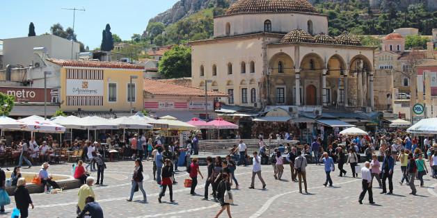 Athens, Greece - May 05, 2015: Famous Monastiraki square with people walking around in Athens, Greece