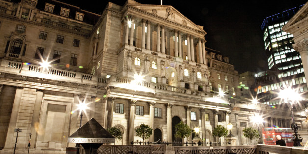 Bank of England at night.