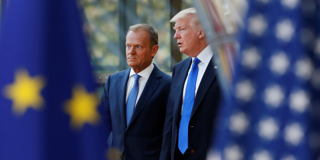 U.S. President Donald Trump (R) walks with the President of the European Council Donald Tusk in Brussels, Belgium, May 25, 2017.       REUTERS/Francois Lenoir     TPX IMAGES OF THE DAY
