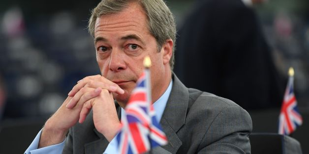Former leader of the UK Independence Party (UKIP) Nigel Farage looks on prior to a debate on the conclusions of the last European Council, at the European Parliament in Strasbourg, eastern France, on May 17, 2017. / AFP PHOTO / PATRICK HERTZOG        (Photo credit should read PATRICK HERTZOG/AFP/Getty Images)