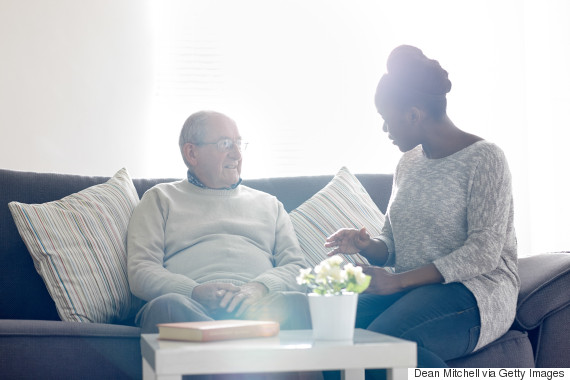 comforting senior woman