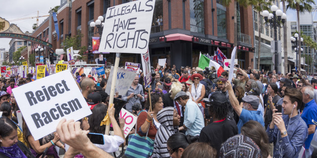 San Diego, California, USA - May 27, 2016: Hundreds of protesters gather in the Gaslamp area to display their thoughts about Donald Trump's presidential campaign at an anti-Trump demonstration.