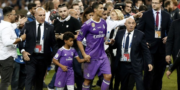 CARDIFF, WALES - JUNE 3: Real Madrid's Cristiano Ronaldo celebrates with his son Cristiano JR. after winning the UEFA Champions League final between Juventus FC and Real Madrid at the National Stadium of Wales in Cardiff, on June 3, 2017. (Photo by Burak Akbulut/Anadolu Agency/Getty Images)