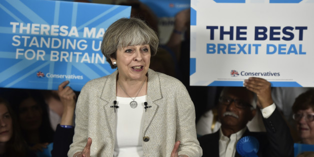 DEWSBURY, UNITED KINGDOM - JUNE 3:  Britain's Prime Minister Theresa May speaks at an election campaign event during a visit to West Yorkshire at Thornhill Cricket and Bowling Club on June 3, 2017 in Dewsbury, England. All parties continue to campaign across the country ahead of the general election on June 8. (Photo by Hannah McKay/Pool/Getty Images)