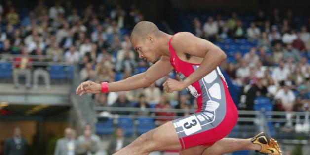 Golden League Saint Denis 2003. 400 m Hurdles. Felix Sanchez (Dominica). | Location: Saint Denis, France.    (Photo by Olivier Prevosto/Photo & Co./Corbis/VCG via Getty Images)