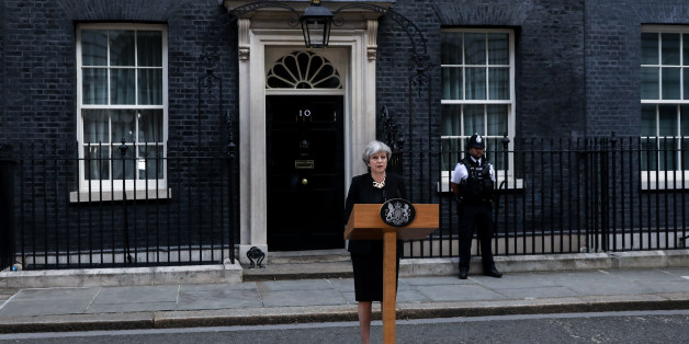Theresa May, U.K. prime minister, delivers a statement outside number 10 Downing Street following the terror attack in London, U.K., on Sunday, June 4, 2017. A van swerved into Saturday-night crowds on London Bridge, before three men got out and went on a stabbing rampage through nearby bars. Photographer: Chris Ratcliffe/Bloomberg via Getty Images