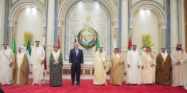 RIYADH, SAUDI ARABIA - MAY 21 : (----EDITORIAL USE ONLY  MANDATORY CREDIT - 'BANDAR ALGALOUD / SAUDI ROYAL COUNCIL / HANDOUT' - NO MARKETING NO ADVERTISING CAMPAIGNS - DISTRIBUTED AS A SERVICE TO CLIENTS----) U.S. President Donald Trump (5th L), Deputy Prime Minister of the Sultanate of Oman, Sayyid Fahd bin Mahmoud al Said (4th R), Emir Of Qatar Sheikh Tamim bin Hamad Al Thani (3rd L),  King of Bahrain Hamad bin Isa Al Khalifa (5th R), Kuwaiti Emir Sheikh Jaber al-Ahmad al-Sabah (2nd L),  King of Saudi Arabia, Salman bin Abdulaziz Al Saud (6th R), Saudi defence minister and Deputy Crown Prince Mohammed bin Salman (R), Secretary general of the Gulf Cooperation Council (GCC), Abdullatif bin Rashid Al Zayani (L),  Saudi Arabian Crown Prince Mohammed bin Nayef bin Abdul Aziz Al-Saud (3rd R) pose for a family photo after the U.S. - Gulf Summit at King Abdul Aziz International Conference Center in Riyadh, Saudi Arabia May 21, 2017.    (Photo by BANDAR ALGALOUD / SAUDI ROYAL COUNCIL / HANDOUT/Anadolu Agency/Getty Images)