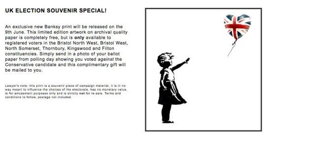 Der Künstler Banksy will mit seiner neuen Aktion die britischen Wahlen beeinflussen.