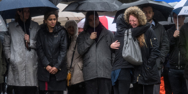 LONDON, ENGLAND - JUNE 06:  A woman is comforted by her friend as she breaks down in tears during a minutes silence near the scene of Saturday's terrorist attack, on June 6, 2017 in London, England.  The third attacker has been named by Italian media as Youssef Zaghba a London restaurant worker, following the attack on Saturday night in London Bridge and Borough. Seven people were killed and forty eight injured in the attack. (Photo by Carl Court/Getty Images)