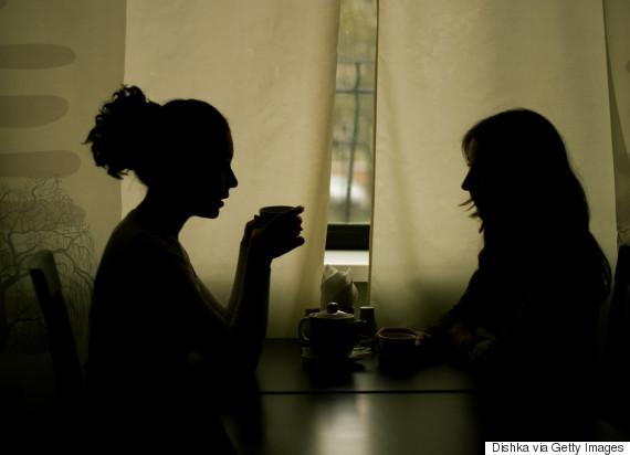 woman silhouette talk