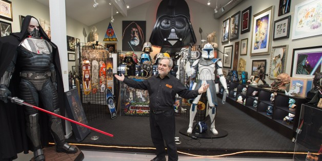 TO GO WITH AFP STORY BY JOCELYN ZABLIT 'ENTERTAINMENT-US-FILM-STARWARS-FANS'Steve Sansweet, owner and self-proclaimed CEO of Rancho Obi-Wan, the world's largest private collection of Star Wars memorabilia, poses for a photo inside one of the display rooms in Petaluma, California on November 24, 2015. The collection includes over 350,000 Star Wars items and is located at Sansweet's home. From the United States, to Russia, China and Saudi Arabia, the franchise has spawned a remarkable global fan b