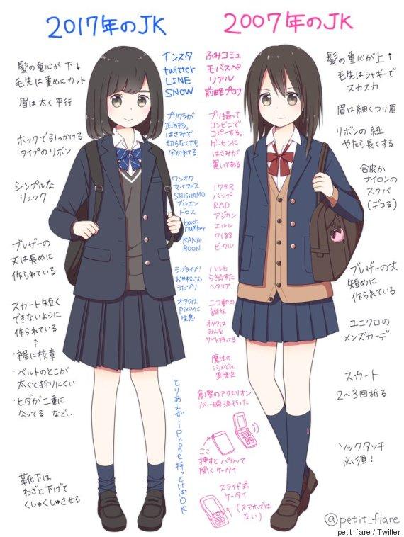 さといも屋さんは、普段から女子高校生のかわいらしい制服イラストをTwitterに投稿しており、今回は独自の見解のもと比較絵を描いたそう。
