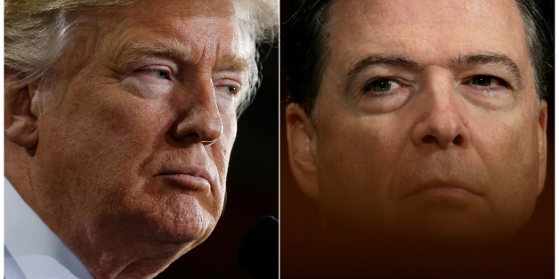 U.S. President Donald Trump (L) speaks in Ypilanti Township, Michigan March 15, 2017 and FBI Director James Comey testifies before a Senate Judiciary Committee hearing in Washington, D.C., May 3, 2017 in a combination of file photos. REUTERS/Jonathan Ernst/Kevin Lamarque/File Photos