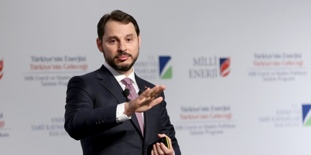ISTANBUL, TURKEY - APRIL 6: Turkish Minister of Energy and Natural Resources, Berat Albayrak delivers a speech during introductory meeting of 'National Energy and Mine Policy' in Istanbul, Turkey on April 6, 2017. (Photo by Isa Terli/Anadolu Agency/Getty Images)