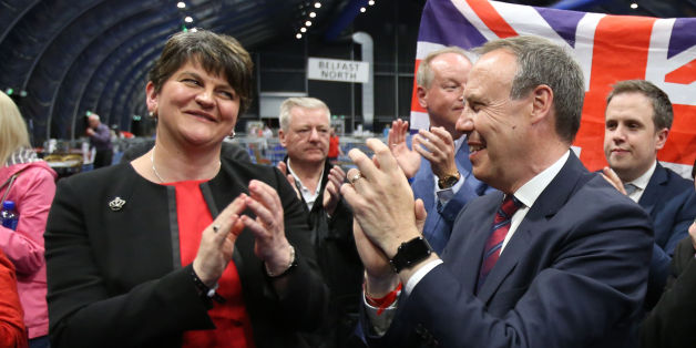 DUP leader Arlene Foster and deputy leader Nigel Dodds cheer as Emma Little Pengelly is elected to the South Belfast constituency at the Titanic exhibition centre in Belfast where counting is taking place in the 2017 General Election.