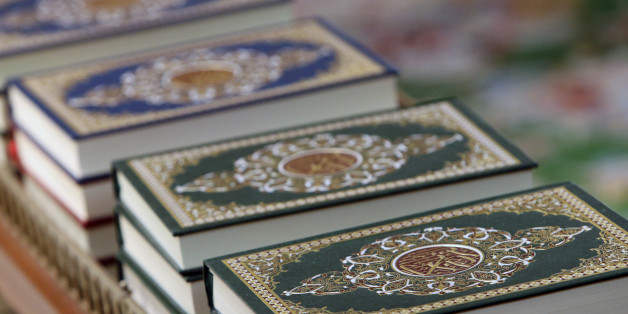Detail of copies of The Koran inside Sheikh Zayed Grand Mosque, Abu Dhabi.