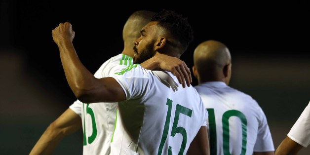 Soudani Hillal El Arabi of Algeria celebrates a goal during Friendly Match Algeria v Guinea at the Mustapha Tchaker Stadium in Blida, Algeria, on 6 June 2017. (Photo by Billal Bensalem/NurPhoto via Getty Images)