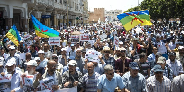 RABAT, MOROCCO - JUNE11: Protesters stage a demonstration in solidarity with people who were arrested, Bab El Had square in Rabat, Morocco on June 11, 2017. Nasser Zefzafi, was arrested May 29, 2017 after three days on the run. Outrage erupted last year over the gruesome death of a fishmonger in Rif, with calls for justice moving into a grassroots movement demanding jobs and hospitals. (Photo by Stringer/Anadolu Agency/Getty Images)