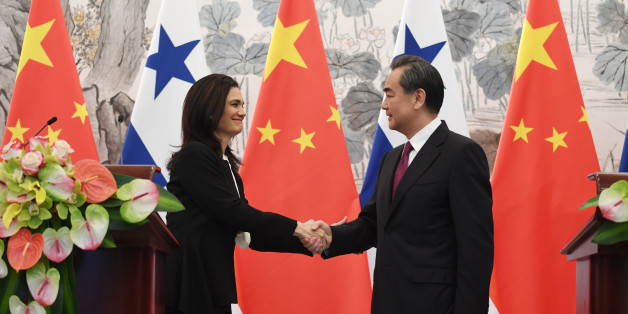 BEIJING, CHINA - JUNE 13:  Panama's Foreign Minister Isabel de Saint Malo (L) shakes hands with Chinese Foreign Minister Wang Yi during a joint press briefing on June 13, 2017 in Beijing, China (Photo by Greg Baker - Pool/Getty Images)