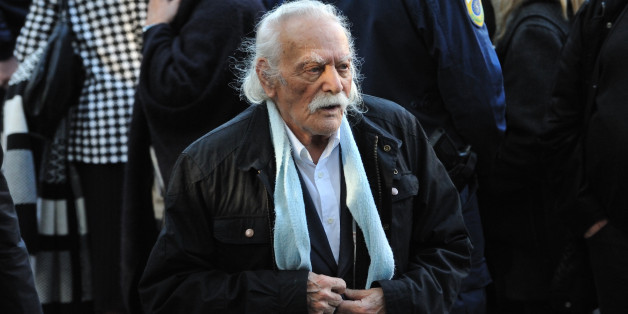 ATHENS, GREECE - NOVEMBER 22: World War II resistance hero Manolis Glezos leaves Aghios Dimitrios church in the Palaio Psychiko region of Athens after the funeral of former President Kostis Stephanopoulos on November 22, 2016 in Athens. (Photo by Nicolas Koutsokostas/Corbis via Getty Images)