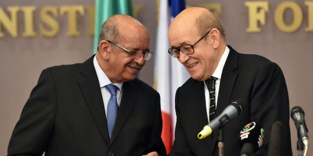 Algerian Foreign Minister Abdelkader Messahel (L) and his French counterpart Jean-Yves Le Drian hold a press conference at the ministry of foreign affairs in Algiers on June 13, 2017.Le Drian is on an official visit to Algeria. / AFP PHOTO / RYAD KRAMDI        (Photo credit should read RYAD KRAMDI/AFP/Getty Images)