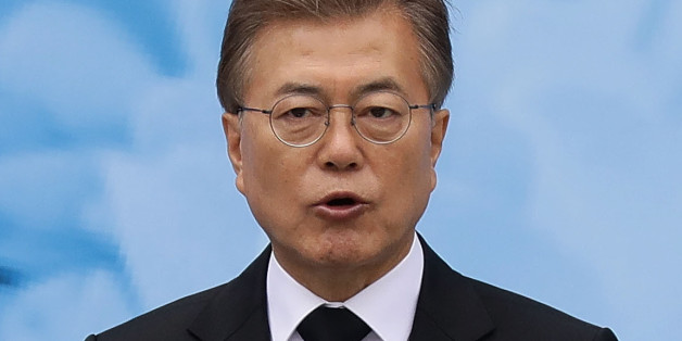SEOUL, SOUTH KOREA - JUNE 06:  South Korean President Moon Jae-in speaks during a ceremony marking Korean Memorial Day at the Seoul National cemetery on June 6, 2017 in Seoul, South Korea. South Korea marks the 62th anniversary of the Memorial Day for people who died during the military service in the 1950-53 Korean War.  (Photo by Chung Sung-Jun/Getty Images)