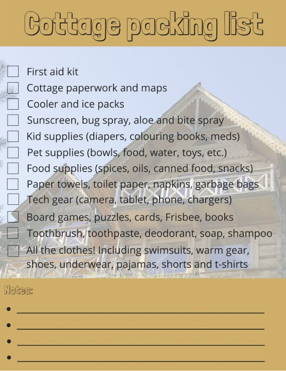 cottage packing list