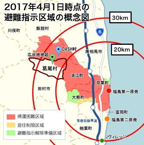 DASH村・葛尾村と福島第一原発の位置関係図