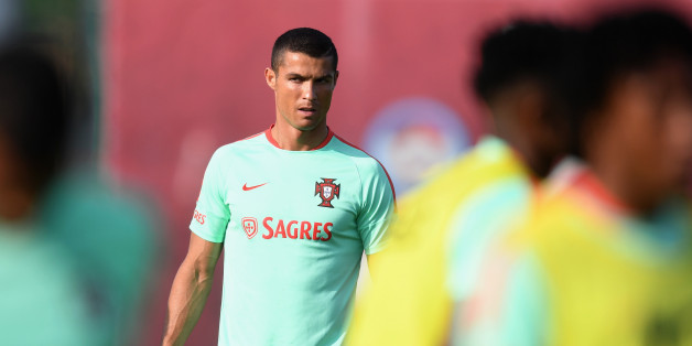 UNSPECIFIED, RUSSIA - JUNE 16:  Cristiano Ronaldo in action during the Portugal training session on June 16, 2017 in Kazan, Russia.  (Photo by Michael Regan - FIFA/FIFA via Getty Images)
