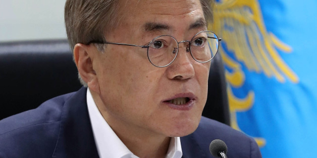 SEOUL, SOUTH KOREA - JUNE 08:  In this handout photo released by the South Korean Presidential Blue House, South Korean President Moon Jae-in speaks as he presides over a meeting of the National Security Council at the presidential Blue House on June 8, 2017 in Seoul, South Korea. According to the South Korean military, North Korea launched several cruise missiles from the east coast toward the ocean on June 8, 2017 in its fourth missile test in four weeks. The launch came amid the international