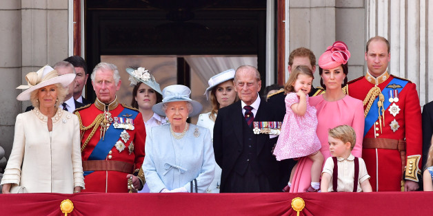 LONDON, ENGLAND - JUNE 17:  Camilla, Duchess of Cornwall, Prince Charles, Prince of Wales, Princess Eugenie of York, Queen Elizabeth II, Princess Beatrice of York, Prince Philip, Duke of Edinburgh, Princess Charlotte of Cambridge, Catherine, Duchess of Cambridge, Prince George of Cambridge and Prince William, Duke of Cambridge stand on the balcony of Buckingham Palace during the Trooping the Colour parade on June 17, 2017 in London, England.  (Photo by James Devaney/WireImage)