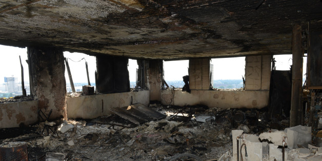 LONDON, ENGLAND - UNDATED:  This handout image supplied by the London Metropolitan Police Service on June 18, 2017 shows an interior view of a fire damaged flat in Grenfell Tower in West London, England. 30 people have been confirmed dead and dozens still missing after the 24 storey residential Grenfell Tower block in Latimer Road was engulfed in flames in the early hours of June 14. Emergency services will continue to search through the building for bodies. Police have said that some victims ma