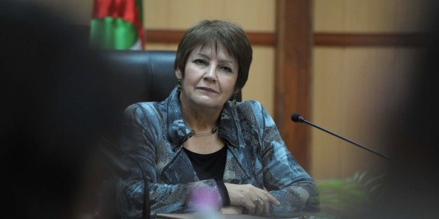 A picture taken on March 9, 2015 shows Algerian Education Minister Nouria Benghebrit at her office in Algiers.Benghebrit has proposed that for the first two years of primary school, teachers be allowed to give lessons in dialect to help children master the standard language. AFP PHOTO / STR        (Photo credit should read STR/AFP/Getty Images)
